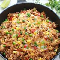{One Pan} Mexican Rice Skillet