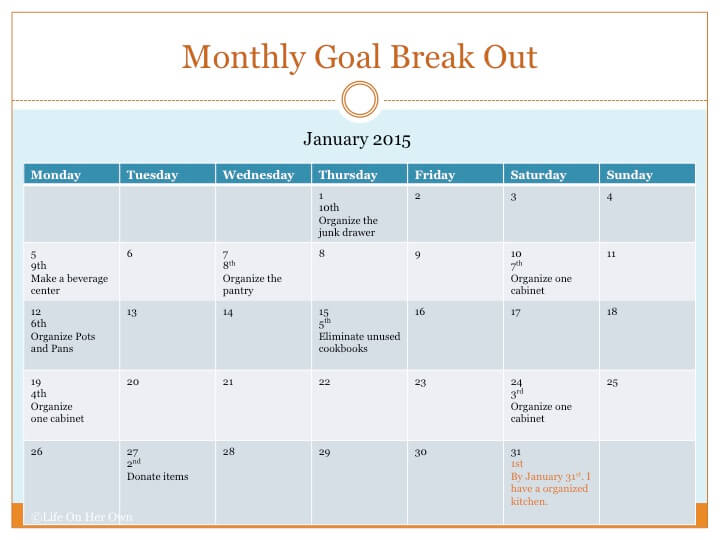 Monthly Goal Example