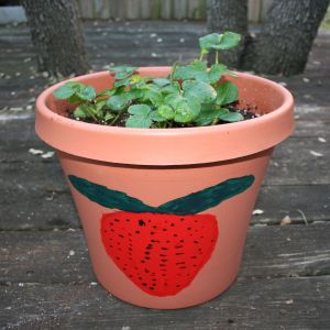 Image shows a large decorated pot with strawberry plants in it.