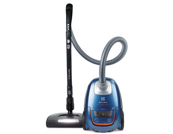Image shows an Electrolux Ultra Silencer canister vacuum cleaner in blue