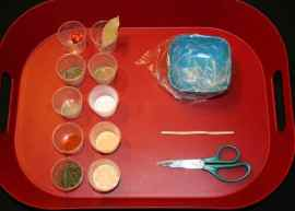 Image shows a red tray with 10 little cups of spices, a bowl with a plastic baggie in it, a scissors, and a twist tie.