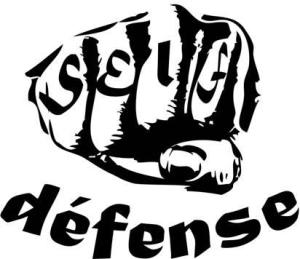 Image shows a fist with Self written on it and defense written underneath.