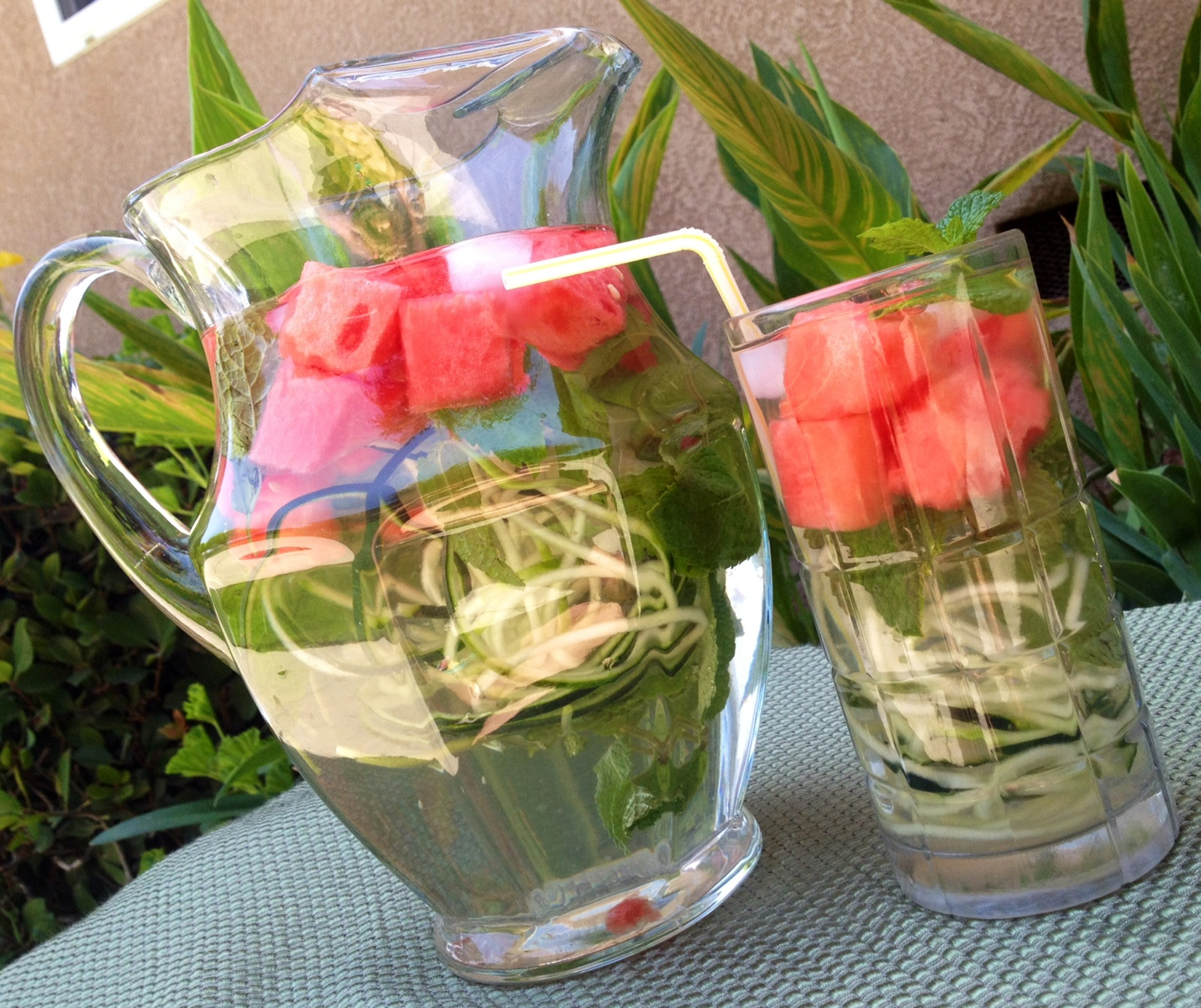 Watermelon Cucumber Mint Infused Water
