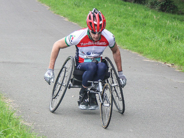 Triathlete in match wheelchair triahtlon Spijkenisse