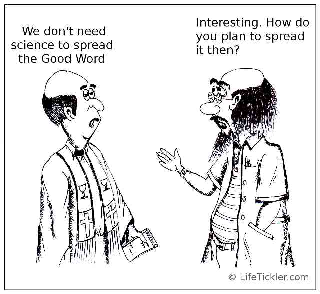 A cartoon image of a priest and a scientist talking to each other