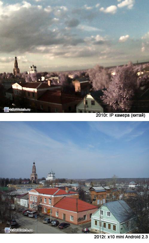 Сравнение изображения с IP камеры и x10 mini
