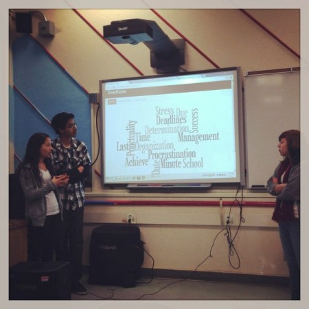 Foshay Learning Center Technology Academy students present their PSA campaign on the importance of meeting deadlines.