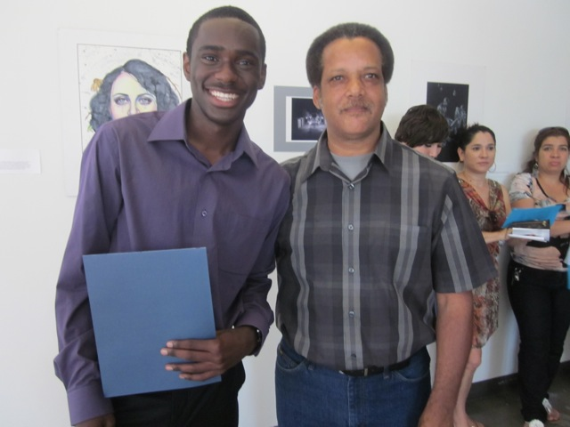 EFTA 2012 first place artist Brandon Towns from San Pedro High School with teacher Donald Hughes.