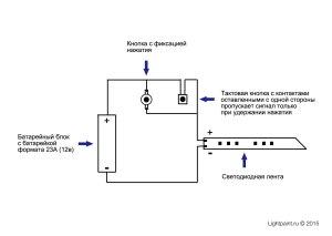 Схема соединений для фризлайт инструмента с двумя автономными кнопками