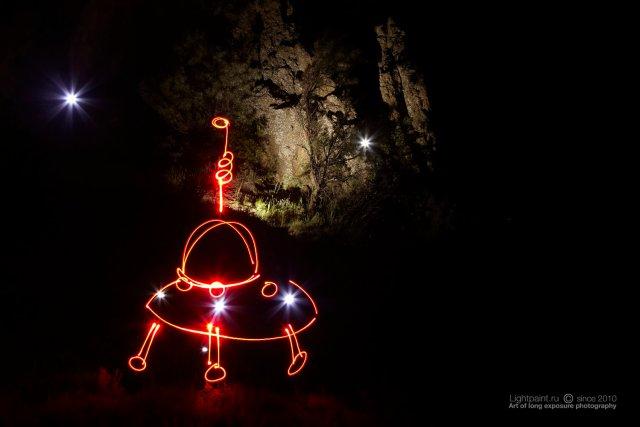 Lightpaint work Alien invasion-инопланетное вторжение