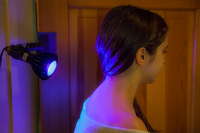 Blue light is great for back and body acne, too.
