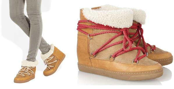 Isabelle Marant  Nowles shearling-lined leather concealed wedge booties