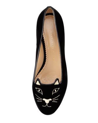 Charlotte Olympia Cat-Face Velvet Skimmer