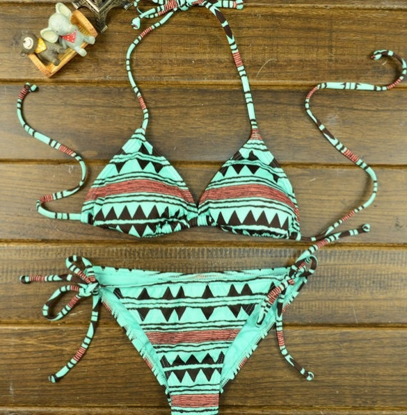 Aztec print string bikini