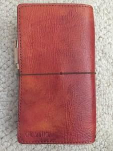 Chic Sparrow Narrow Gemini in Orange with red watercolor effect, back strap, fauxdori, jendori