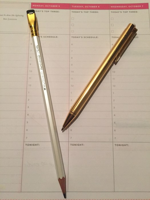 Day Designer, planner, schedule, task list, notes section, palomino pencil, gold pen