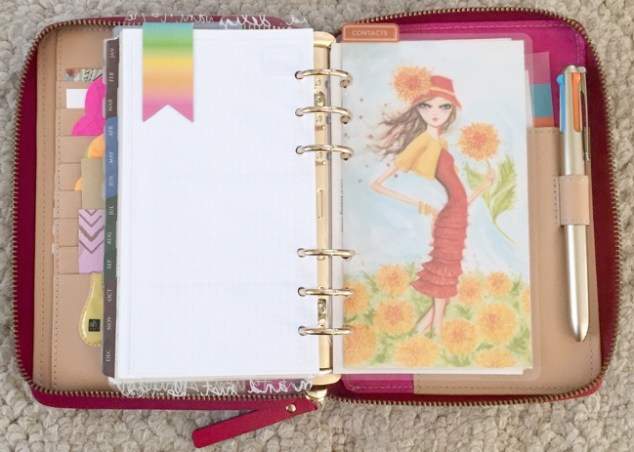 planner, planner setup, kate spade, wellesly, gold coleto pen, contacts section