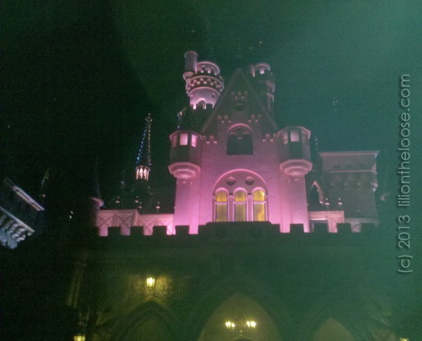 A quick view of Disneyland Castle in the dark, before dashing home.
