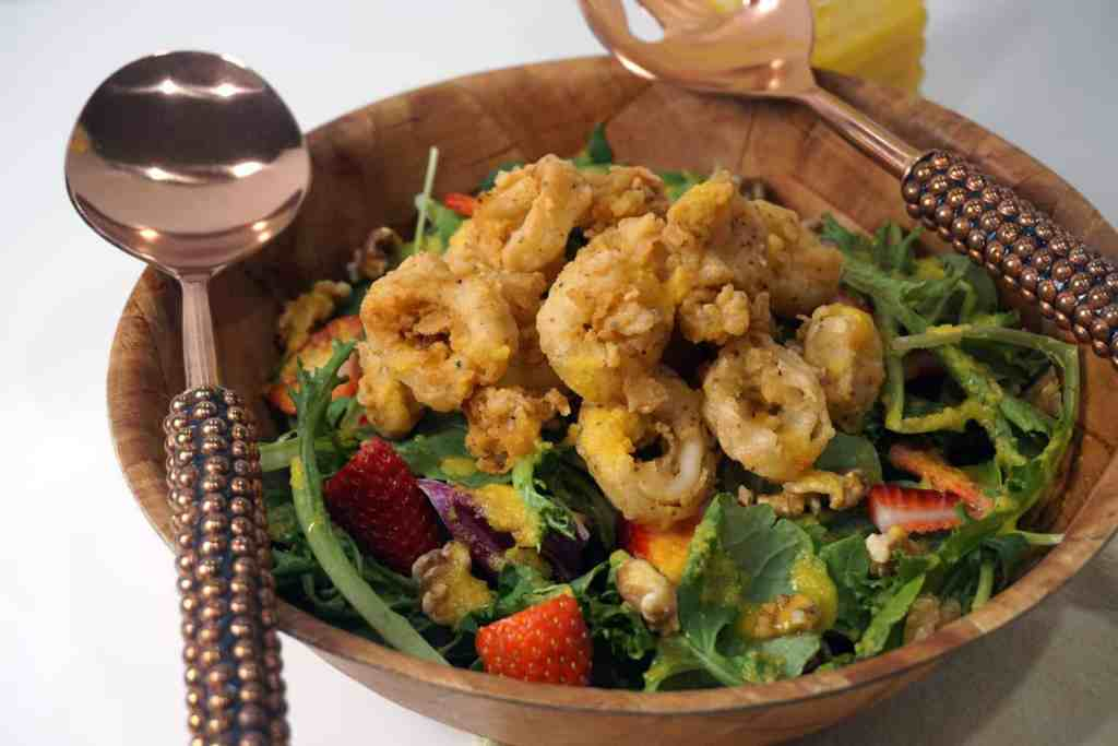 Buttermilk Fried Calamari Salad with Cantaloupe Vinaigrette -- The sweetness of cantaloupe vinaigrette is so necessary with this slightly spicy fried calamari. You guys will never believe how I came up with this recipe! -- lilsweetspiceadvice.com