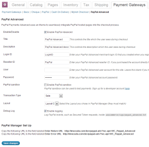 PayPal Advanced WooCommerce settings