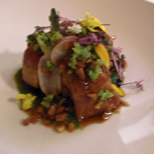 Braised Pig Tails: crushed fava beans, pickled peanuts, radishes, ramp puree