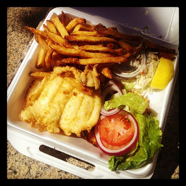 Haddock sandwich from Captain Mardens Cod Squad truck