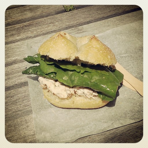 The locavore sandwich: salmon pate and spinach