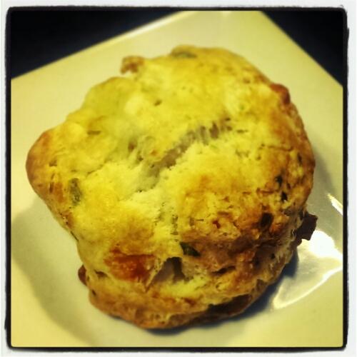 Cheddar scallion scone at Mariposa Bakery in Cambridge