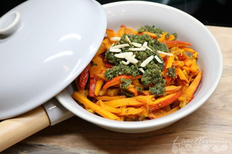 Food: Kürbis-Spaghetti mit Walnüssen und Pesto