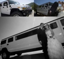 h2 hummer wedding limo with bride and groom standing outside photo