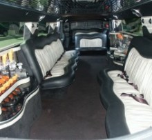 Interior shot of 18 person super stretch hummer limousine