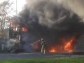 Dramatic scenes as firefighters battle double decker bus fire in Sutton Bridge