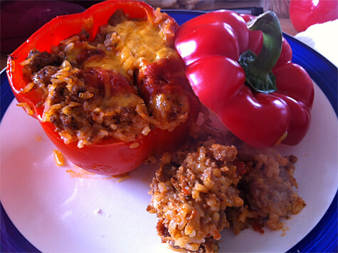 Bell peppers stuffed with rice and beef!