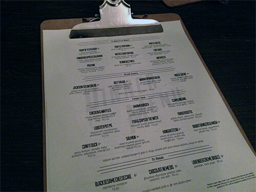 Clipboard menu at The Common.