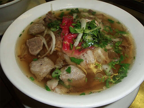 Yum!! This is the steak, well-done beef & beef balls pho.