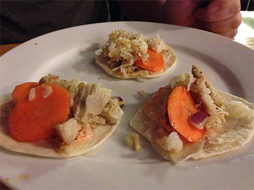 Stir-fried rice, chicken, carrots on tortillas - Mike's creation. Mine had far more vegetables!! (But I forgot to take a picture, lol)