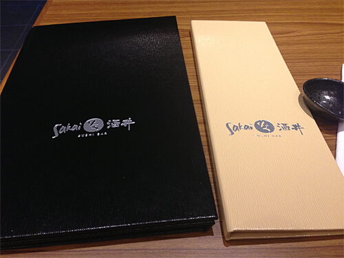 Menus at Sakai Sushi Bar in Spruce Grove.