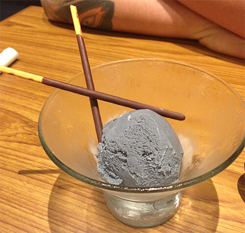 Black Sesame Ice Cream at Sakai Sushi Bar in Spruce Grove!