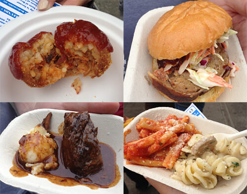 Pig balls, bacon bomb sliders, beef short ribs and mash and rotini & gemmelli!