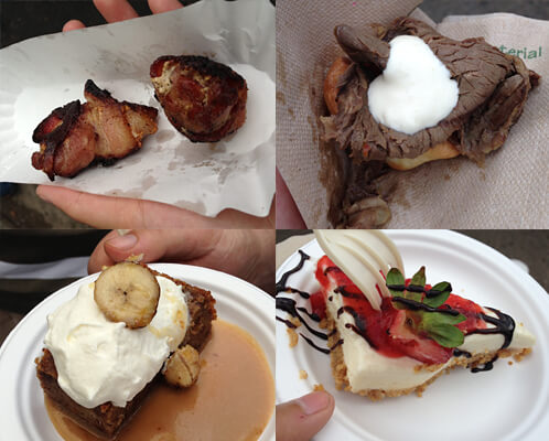 Bacon-wrapped scallops, Yorkshire pudding, banana bread pudding and cheesecake at Taste of Edmonton!