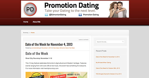 www.promotiondating.wordpress.com offers date ideas and relationship advice. It's one of a growing number of online options to help singles in the city find true love.