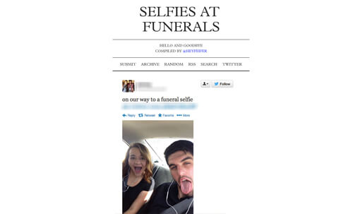 Selfies at Funerals. The new way to mourn?