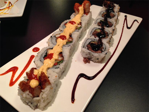 Spicy Chick and Beef Teriyaki rolls at Kenko.