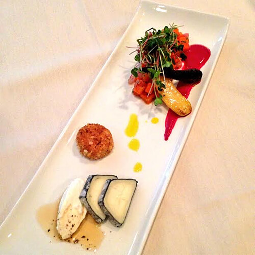 Canadian goat cheese, roasted and pickled carrots, beets (Bull's Blood) gerhbs and horseradish emulson.