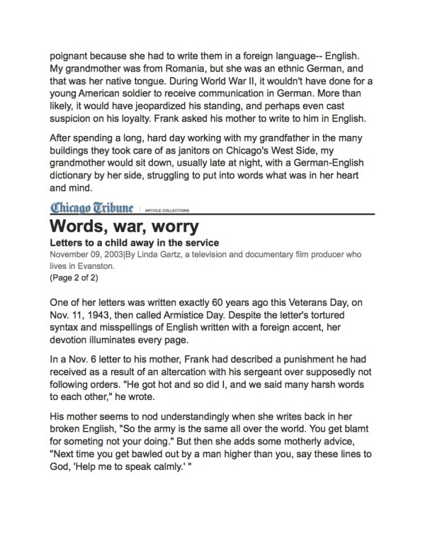 Words, War, Worry Chgo Trib p2