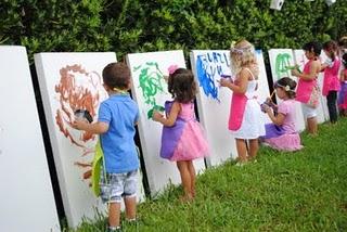 bursdagside barnebursdag ute maling på lerret