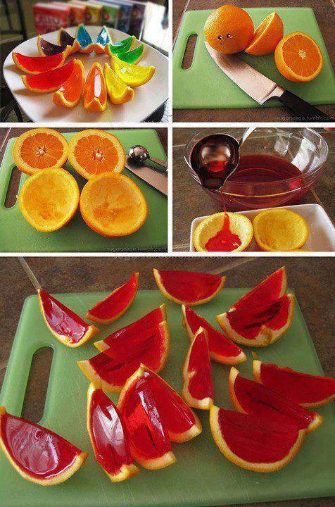 fyllt appelsin med gele