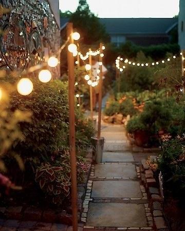 utendørs lyslenke oppgang hage