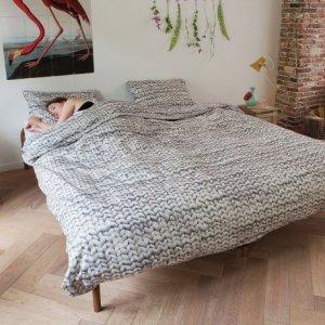 snurk sengetøy dobbelt twirre grå