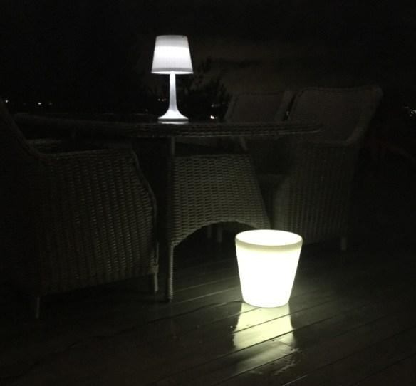 Samlebilde LED krukke og Solcellelampe hvit
